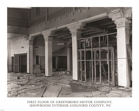 Framed First Floor of Greensboro Motor Company Guilford County, NC Print