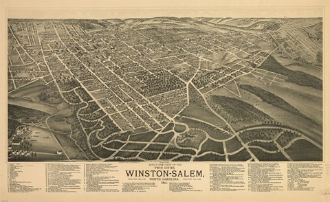 Framed Winston Salem, North Carolina in 1891 Print