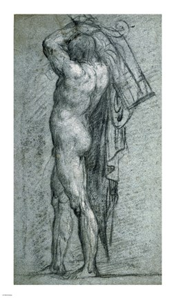 Framed Nude Man Carrying a Rudder on His Shoulder Print