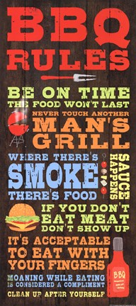 Framed BBQ Rules Print