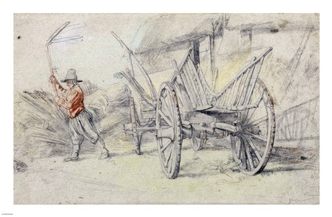 Framed Man Threshing Beside a Wagon Print