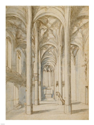 Framed Interior of a Gothic Church Print