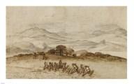 Landscape in Latium with Farm Laborers Art