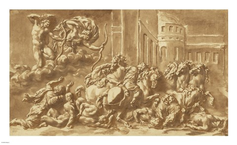 Framed Sons of Niobe Being Slain by Apollo and Diana Print