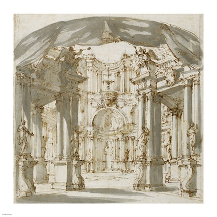 Framed Courtyard of a Palace: Project for a Stage Print