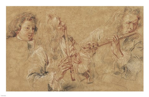Framed Two Studies of Flutist and Head of a Boy Print