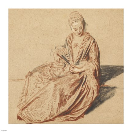 Framed Seated Woman with a Fan Print