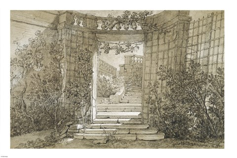 Framed Landscape with a Stairway and Balustrade Print