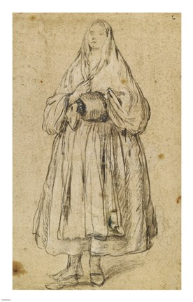 Framed Standing Woman Holding a Muff and Shawl Print