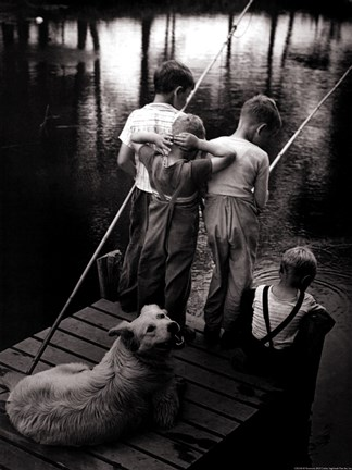 Framed Dogs Supervising Fishing Boys Print