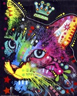 Thinking Cat Crowned  Fine Art Print