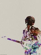 Hendrix with Guitar Watercolor  Fine Art Print