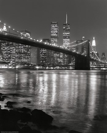 Framed Brooklyn Bridge at Night Print