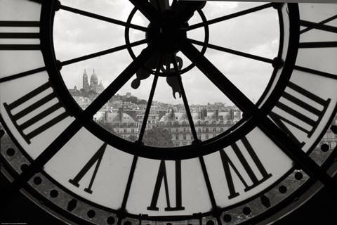 Big Clock Horizontal Black And White Fine Art Print By