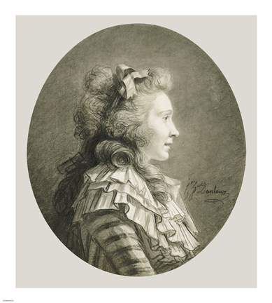 Framed Portrait of a Young Lady in Profile Print
