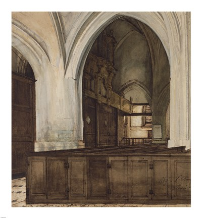 Framed Interior of Abbey of Aramont at Verberie Print