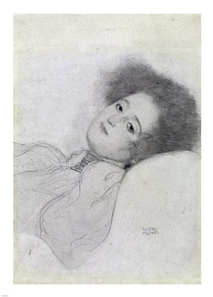 Framed Portrait of a Young Woman Reclining Print