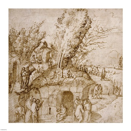 Framed Thebaid: Monks and Hermits in a Landscape Print