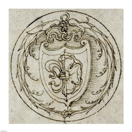 Framed Design for an Ornament or Signet Ring with the Arms of Lazarus Spengler Print