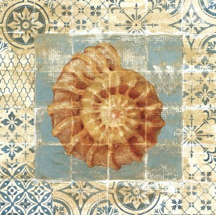 Framed Shell Tiles I Blue Print
