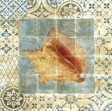 Framed Shell Tiles IV Blue Print