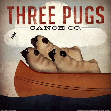 Framed Three Pugs in a Canoe v Print