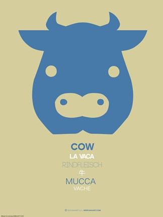 Framed Blue Cow Multilingual Poster Print