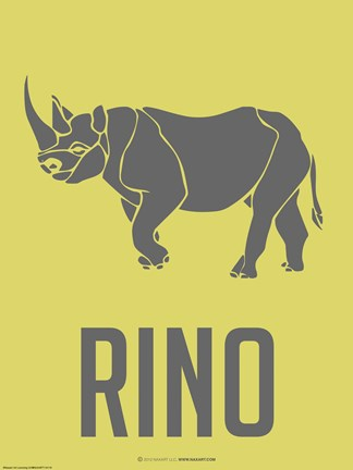 Framed Rino Grey Print