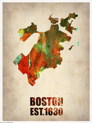 Framed Boston Watercolor Map Print
