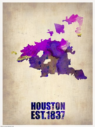 Framed Huston Watercolor Map Print