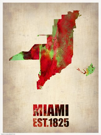 Framed Miami Watercolor Map Print