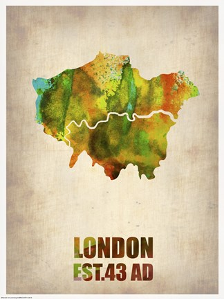 Framed London Watercolor Map I Print
