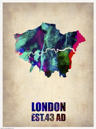 Framed London Watercolor Map II Print