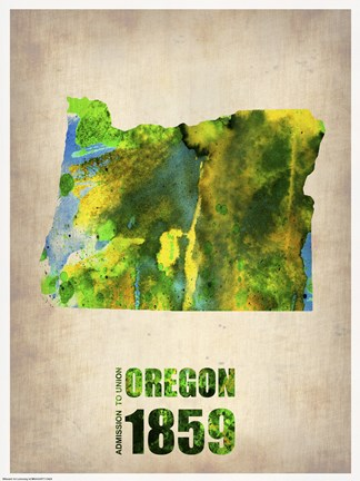 Framed Oregon Watercolor Map Print