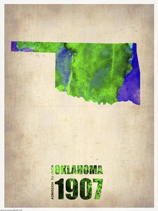 Framed Oklahoma Watercolor Map Print