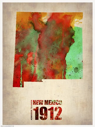 Framed New Mexico Watercolor Map Print