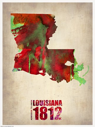 Framed Louisiana Watercolor Map Print