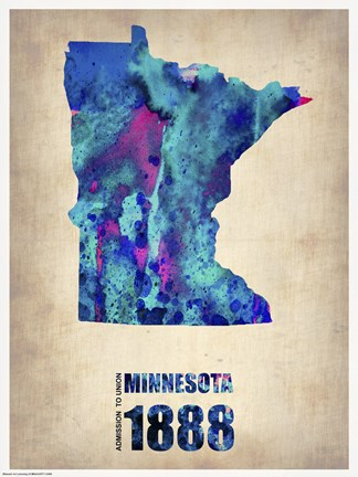 Framed Minnesota Watercolor Map Print