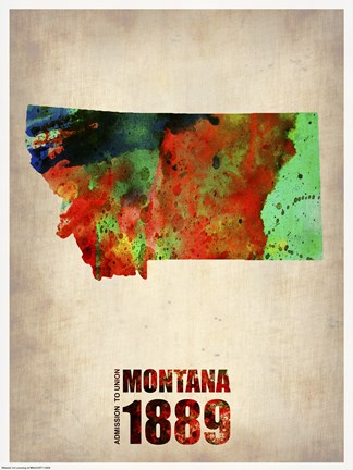 Framed Montana Watercolor Map Print