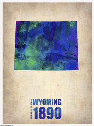 Framed Wyoming Watercolor Map Print