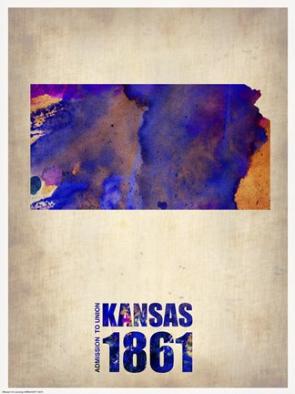 Framed Kansas Watercolor Map Print