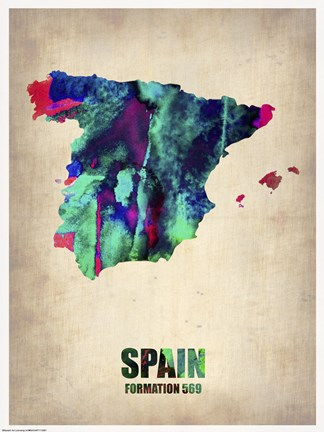 Framed Spain Watercolor Map Print