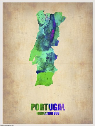 Framed Portugal Watercolor Map Print