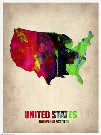 Framed USA Watercolor Map II Print