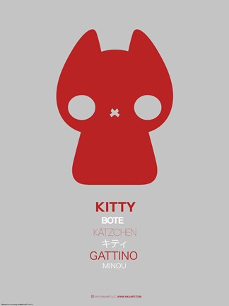 Framed Red Kitty Multilingual Poster Print