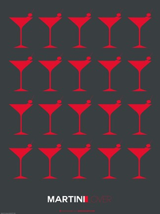 Framed Martini Lover Red On Black Print