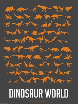 Framed Dinosaur Poster Orange Print