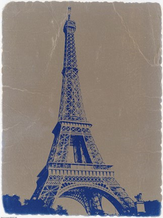 Framed Eiffel Tower Blue Print