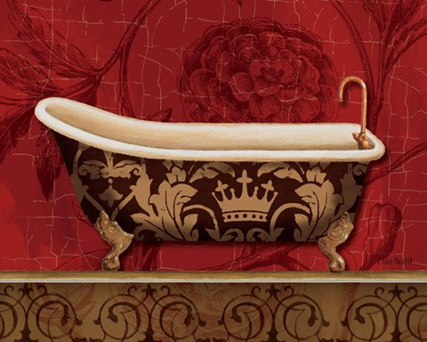 Framed Royal Red Bath II Print