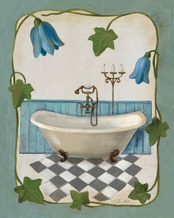 Framed Bell Flower Bath I on Ivory Print